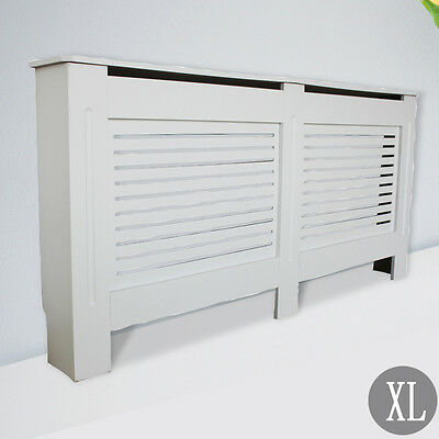 X-Large Radiator Cover White Painted Wall Cabinet Wood MDF Heating Covers Shelf