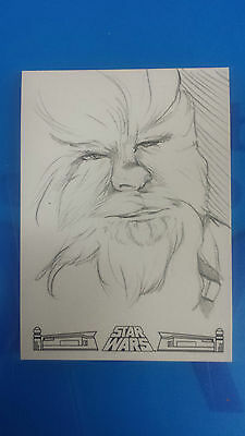 2017 Topps Star Wars 40Th Anniversary Chewbacca Sketch Card By Kaela Croft