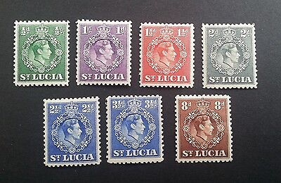 St Lucia George VI Small Collection of Definitives12½ perfs mounted mint