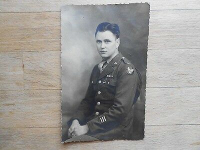 Vintage WW2 postcard Young Soldier William Wheeler with emblems 1945 - RP