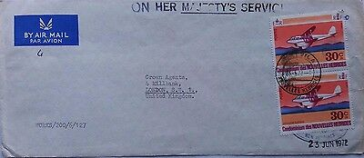 New Hebrides 1972 O. H. M. S. Airmail Cover With Stamps To Crown Agents London