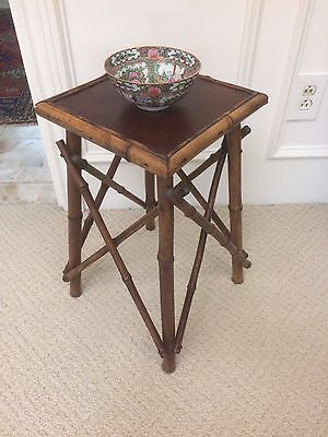 Antique Vintage Bamboo Wood Side End Wine Table W Leather Top