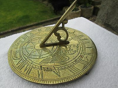 Vintage/ Antique Brass Sundial/ Compass Garden Clock (Dragons/ Sunny Hours).