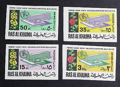 "Very Rare Uae Ras Al Khaima 1966 Sg Listed ""Imperf"" Who, Medicine Stamps Set Mlh"