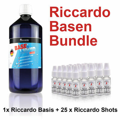 Nikotin Base Shot 34,95€/1L 1000ml E-Liquid 5mg Riccardo E-Zigarette Bundle TOP!