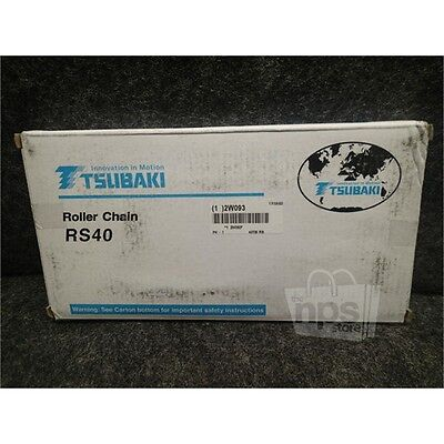 """Tsubaki 40 TW 10 RS40 Roller Chain, 10' Length, 1/2"""" Pitch, Carbon Steel"""