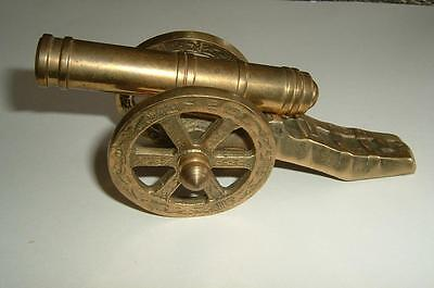 "Vintage Solid Brass 5"" Brass Cannon On Wheels"