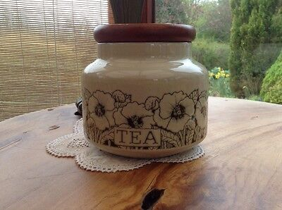 Vintage Hornsea Cornrose Tea Container With Wooden Lid