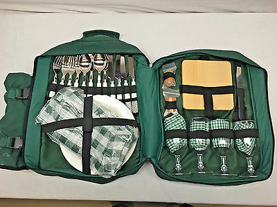 Picnic In Backpack For 4 with w/Insulated Wine Bag - Hunter Green - See Photos