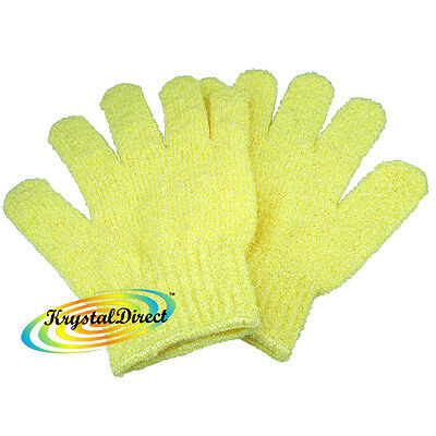 Spa Reusable Skin Exfoliating Body Bath / Shower / Wash Yellow Gloves - 1 Pair