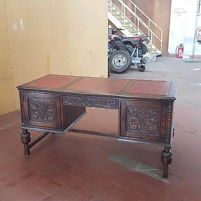 Antique/reproduction Old Charm/jaycee Large Leather Topped Writing Desk