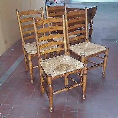 Set Of 4 Solid Oak Ladder Back Farmhouse Country Style Chairs With Rush Seats