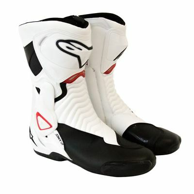 Alpinestars SMX 6 Motorcycle Race Boots White/Black/Red EU 48 US 12.5 UK 11.5