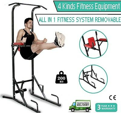 Pro Multi Function Home Gym Fitness Power Tower Dip AB Pull/Chin Up Bench Barbel