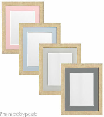 Light Brown Deep Grain Picture Photo Frame with coloured mounts