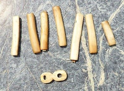 Canadian Alaskan Inuit Eskimo Carved Toggle & 7 Tube Beads Not Tomahawk Axe Club