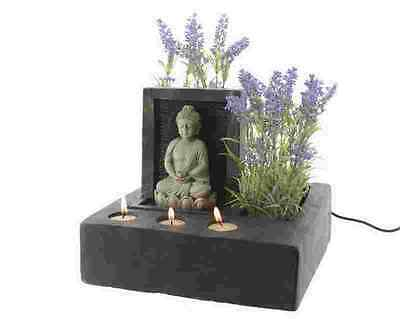 Indoor Table Top Tranquil Buddha Wall Water Feature Fountain with Planter