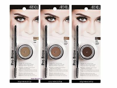 Ardell Pro Brow Pomade incl Brush - Eyebrow Fill In Pomade Smudge Free 3 Shades