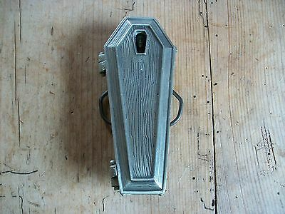 Vintage Coffin With Lady Vampire Inside, Collectable Gothic Belt Buckle.