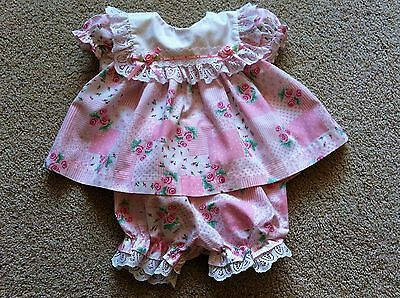 Vtg Frilly Baby Togs Girl Dress/bloomers Set 6-9 M Pink/white/green Reborn Doll?