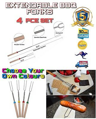 4PCE Telescopic Roasting Marshmallow Barbecue BBQ Skewers Fork FREE Delivery