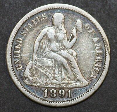 USA One Dime 1891 Silver Coin