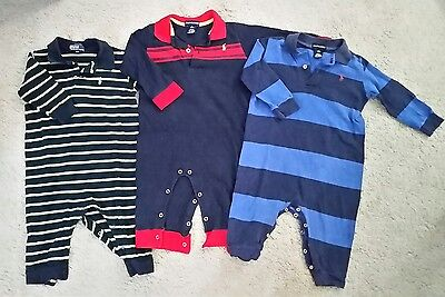 Lot of 3 Polo Ralph Lauren Baby Boys Romper one piece 12-18 Months