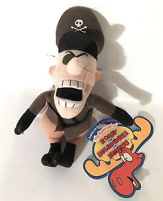 Adventures Rocky Bullwinkle Fearless Leader Plush Keychain Hang Clip Tag Rare