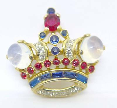 Vintage Crown Trifari Philippe Sterling Silver Coronet Brooch Pin