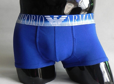 New Men's Cotton Boxer Underpants Bulge Pouch Soft Breathable Underwear Blue