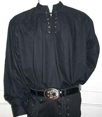 NEW Goth/ Pirate/ Medieval Fancy Dress Cotton Shirt, BLACK L