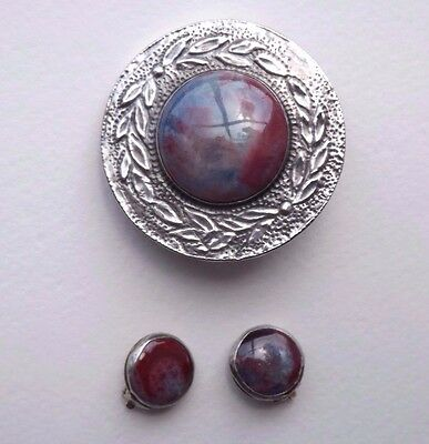 Antique Arts & Crafts Pewter Flambé Ruskin Brooch & Matched Earrings - c.1920