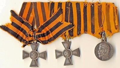 Antique Original Imperial Russian St George Silver Crosses  and 1 Medal (1195)