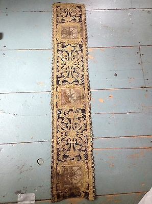 Early Antique Tapestry Fragment Embroidered Gold Ornate