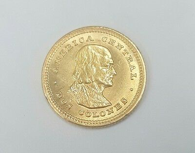 Costa Rica 2 Colones 1915 Gold Coin, Scarce Date Low Mintage 5000 Only