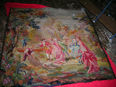 Clearance Sale! Amazing Hand Sewn Antique  Flemish Tapestry 51X51 Top Quality