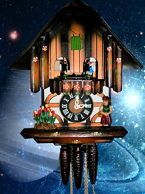Classic Musical Lady & Tulips Cuckoo Clock #45