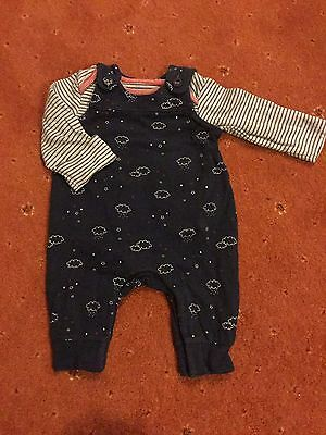 Baby romper suit with long sleeve vest M&S unisex/boy/girl 0-3 months