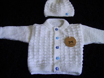 new lovely hand knitted  white baby cardigan/hat set (NEWBORN)