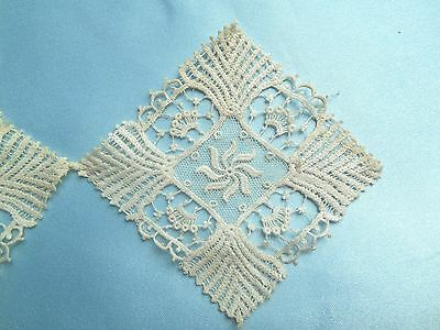 """Beautiful Antique/vintage  Lace  inserts trim 6)  3"""" x 3""""  linked squares Ivory"""