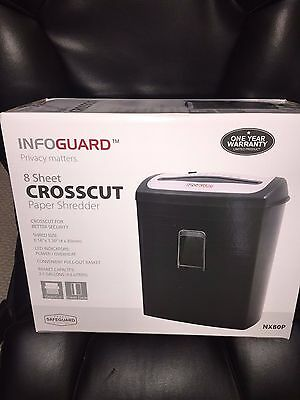 New InfoGuard 8-Sheet Cross-Cut Paper Shredder  w Pullout Bin NX80P