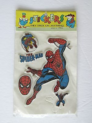 Vintage Spiderman Puffy Stickers Sealed NOS 80's The Spider-Man Taiwan