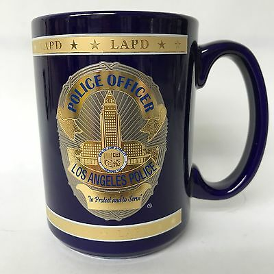 Los Angeles Police Officer Porcelain Cobalt Blue W Gold Accents Coffee Mug New