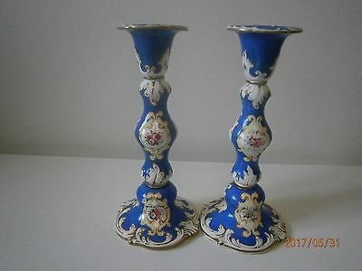 19th Century Blue Hand Painted And Gilded Pair Candlesticks