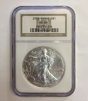 2002 American Silver Eagle S$1 Ms69~Ngc Certified