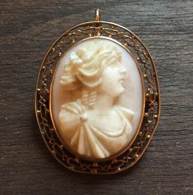 Beautiful Victorian 10k Cameo Pendant Pin Carved From Shell