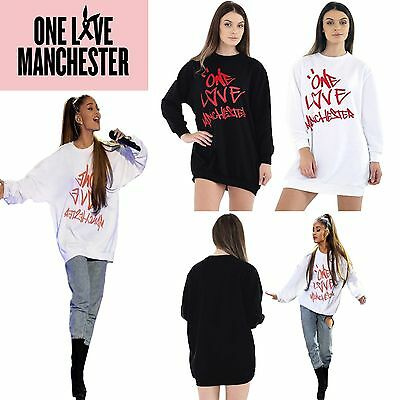 New Ladies Printed Celeb Concert Baggy ONE LOVE MANCHESTER Sweatshirt Dress TOP
