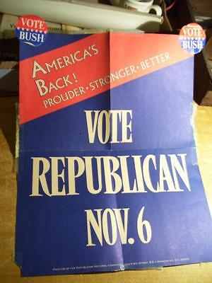 1984 RNC Poster Vote REPUBLICAN NOV. 6 With Bush Stickers Added For 1988