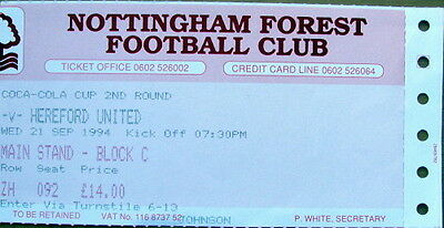 Ticket Nottingham Forest v Hereford United Coca Cola Cup 1994/95