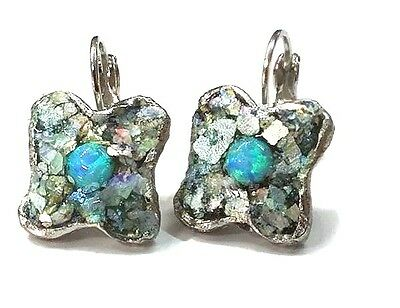 Roman Glass Silver P Fragments 200 B.C Blue Round Opal New Earrings HolyLand.